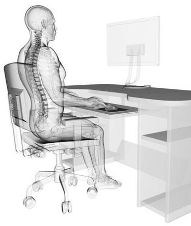 The correct posture for both kids and adults. If you don't sit correctly you might get pain in your back.